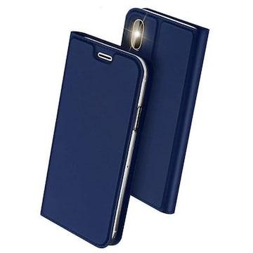 iPhone Xs  X ケース 手帳型 スマホケース 合皮レザー ブルー