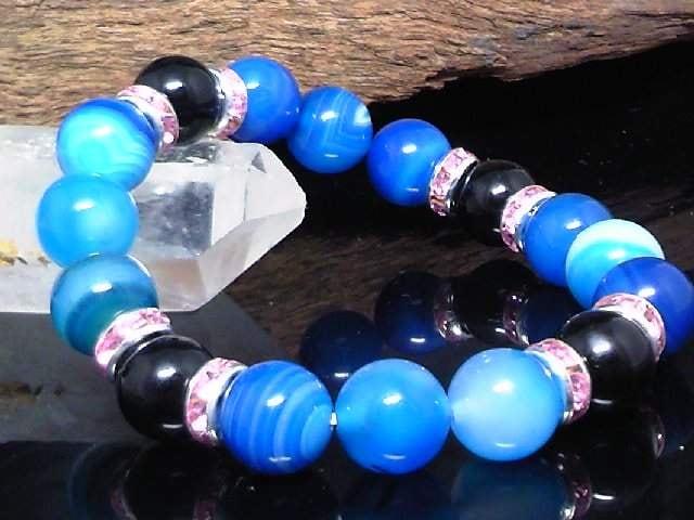 ブルーストライプアゲート10オニキス10ミリ数珠  < 女性アクセサリー/時計の