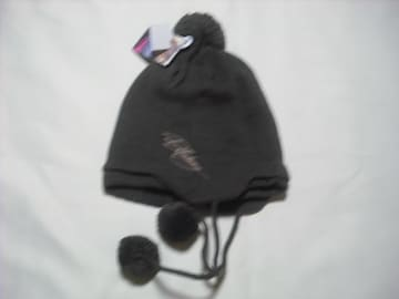 wb35 女 BILLABONG ビラボン 耳当て ボンボン付き ニット帽 茶