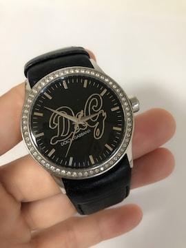 T128 D&G ドルチェ&ガッバーナ 腕時計 クォーツ ラインストーン