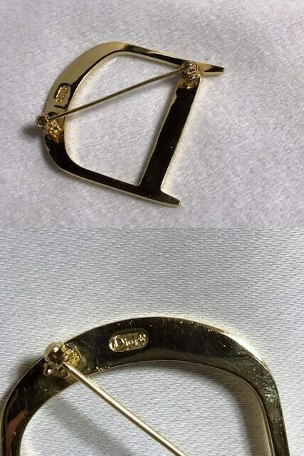 正規レア Diorディオール ヴィンテージ CDロゴ×Dデザインブローチ金 Dior Homme < ブランドの