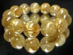 即決価格!!極太入りタイチンルチル16ミリ数珠ブレスレット!!金運パワー
