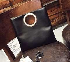 【ブラック】3way バッグ シンプル リングデザイン クラッチ