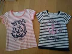 夏服トップス2点セット♪サイズ140�p/半袖Tシャツ/ピンク&ブルー/イカリ柄/ボーダー柄