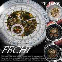 メンズ 自動巻 腕時計 スケルトンタイプ 革バンド FE-18009
