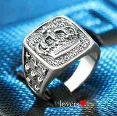 送料無料16号クロムシルバークラウン王冠スタンプリング指輪