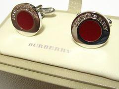 バーバリー.BURBERRY.最高のメンズステイタス.シルバー&ラッカー塗りラウンドカフスボタン