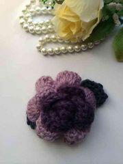 ハンドメイド ブローチ 薔薇 パープルグラデ アナスイ好き 紫