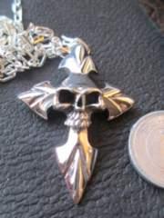 Silver925  スカルクロス ペンダント+ 925チェーン 50cm  16.8g