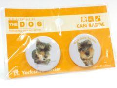 送定140円~10kgTHEDOGバッヂ犬缶Badgeヨークシャーテリアヨーキーバッチ文具アクセ