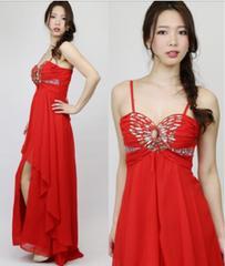 赤ビジュー背中スピンドルロングドレスSサイズ