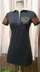 新同DTS 半袖ロングシャツ M ダメージ加工ロゴ