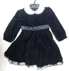 新品 ベロア 黒 ワンピース 冠婚葬祭 ブラック 120