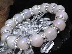 フラッシュローズクォーツ12ミリ銀ロンデル数珠