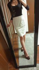 クードシャンス白レース膝丈スカート定価¥17000