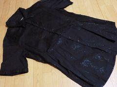 ニコル/HIDE AWAYS NICOLE 襟レザー半袖シャツ(黒)