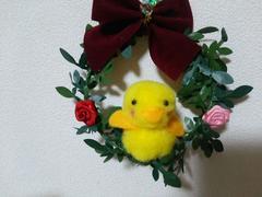 ハンドメイド黄色い鳥ひよこちゃんリース