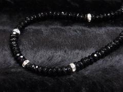 お洒落オラオラアイテム!!ブラックスピネル6mm数珠ネックレス