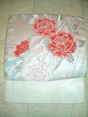 白地に花刺繍の付け帯 簡単帯