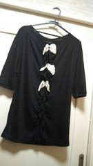 ロイヤルパーティM 後ろリボンシフォン付き七分袖カットソー黒白