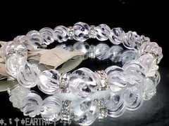 天然石★12ミリ&10ミリSラインツイスト螺旋彫り水晶オラオラ数珠