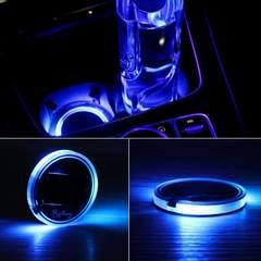 LED 車用 カップコースター 発光ブルー