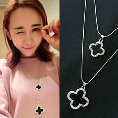 1円〜◆Four Leaf pendant long double necklace