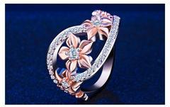 送料無料 豪華絢爛フラワー型のファッションジュエリー 指輪12号