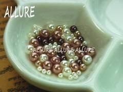 穴なしパール チョコ系×ホワイト2〜4ミリMIX レジン 50粒