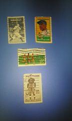アメリカ20c運動選手切手4種類♪