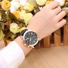 腕時計 ギリシャ文字 レザー ベルトビジネス ウォッチ  ブラック