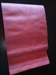 ローズピンク単衣帯正絹未使用品全通柄