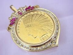 1911年 アメリカ 10ドル インディアン金貨 ペンダントトップ 仕上済 M1★dot