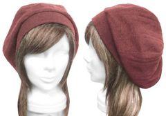 変りリブ織ウールニット/リブ付ベレー帽(ゆったり)◆杢エンジ