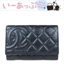 シャネル 二つ折り財布 カンボンライン 黒 極美品 g107