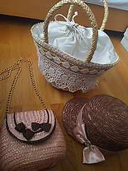 かごバッグ2つ、麦わら帽子セット