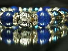 風水神・銀龍龍紋石×ラピスラズリ×ブルーオーラ数珠ブレスレット