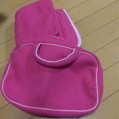 新品◆バッグ付フリースひざ掛け◆ピンク◆ブランケット
