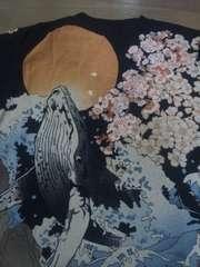 ☆新品[絡繰魂]桜と荒波にクジラ長袖Tシャツ スカジャン好きにも