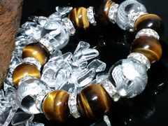 銀四神獣水晶16ミリ§タイガーアイ14ミリ銀ロンデル数珠
