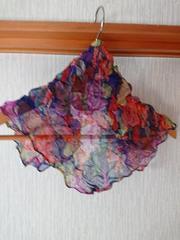 新品 花柄 シワ加工 紺色×赤ピンク×紫×グリーンスカーフ