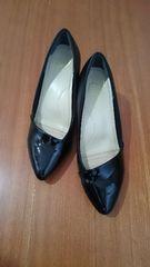 黒 LLサイズ シンプルパンプス 美品 24.5