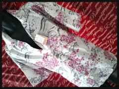 和柄鶴×桜レーヨンアロハシャツ 新品白5L/02P-4073