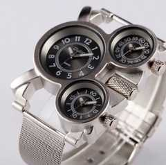 新作oulm正規腕時計◆BIGフェイスステンレスベルト◆DIESEL系◆