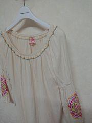 チチカカ/titicaca 刺繍8分袖カットソー フリー