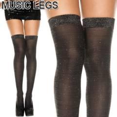 A572)MusicLegsグリッターラメサイハイストッキング黒シルバーキラキラタイツダンス衣装
