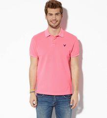 【American Eagle】AEOビンテージフィットピケポロシャツ  S/Pink