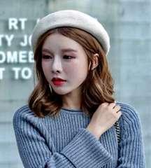 新品 帽子 ふわふわベレー帽 シンプル ホワイト
