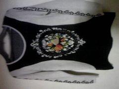 お洒落ニットセーター/刺繍とパールが素敵♪/M/黒×アイボリー