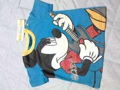 新品ミッキーマウスロック・ギター半袖Tシャツサイズ80�p